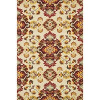 "Hand-hooked Tessa Multi/ Red Wool Rug - 5' x 7'6"""