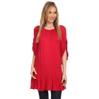 MOA Collection Women's Flutter Sleeve Tunic