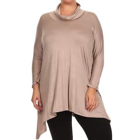 MOA Collection Plus Size Women's Cowl Neck Tunic