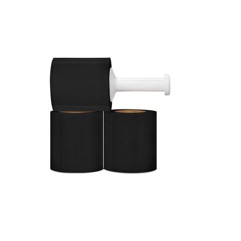 48 Rolls Black Hand Stretch Film Shrink Wrap 5-inch 80 Gauge 1000 Ft
