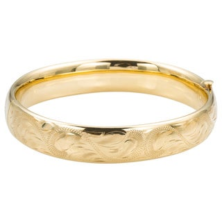 14k Yellow Gold Lightly Carved Estate Bangle