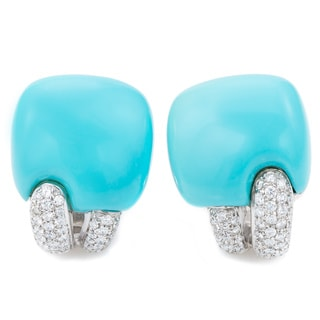 18k White Gold 1ct TDW Turquoise and Pave Diamonds Clip Earrings (G-H, SI1-SI2)