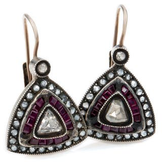 Silver 1 1/4ct TDW Diamond Antique Ruby Triangular Estate Earrings (L-M, I1-I2)|https://ak1.ostkcdn.com/images/products/11113259/P18115964.jpg?impolicy=medium