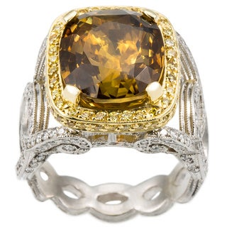 Platinum and 18k White Gold 1 5/8ct TDW Chrysoberyl Estate Ring (I-J, SI1-SI2)