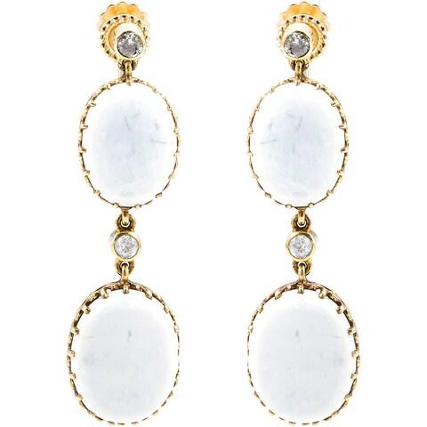 14K Yellow Gold 2/5ct TDW Antique Opal Dangling Earrings (J-K, I1-I2)