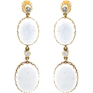 14K Yellow Gold 2/5ct TDW Antique Opal Dangling Earrings (J-K, I1-I2)
