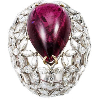 Platinum 10 1/2ct TDW Diamond and Rubellite Dome Estate Ring (G-H, VS1-VS2)