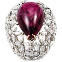 Platinum 10 1/2ct TDW Diamond and Rubellite Dome Estate Ring (G-H, VS1-VS2)