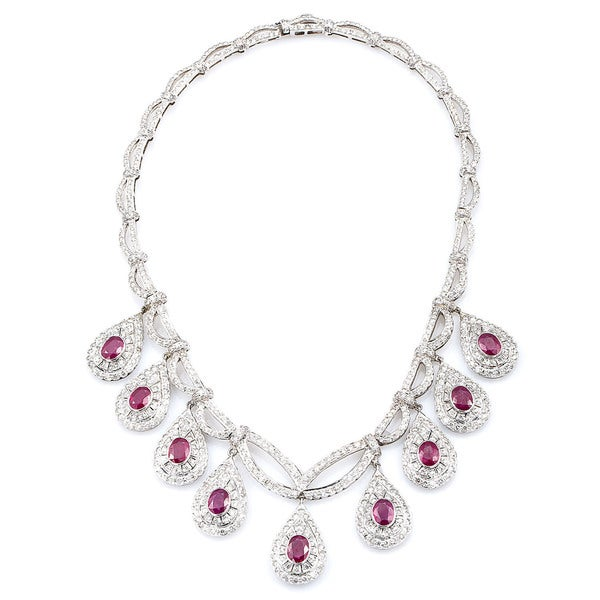 793221d1cac60 18k White Gold 11 1 4ct TDW Diamond and Rubies Estate Riviera Necklace (G-H