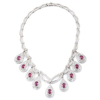 18k White Gold 11 1/4ct TDW Diamond and Rubies Estate Riviera Necklace (G-H, SI1-SI2)