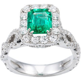 14k White Gold Green Emerald and 1 3/5ct TDW Diamond Engagement Estate Ring Size 6 (G-H, SI1-SI2)