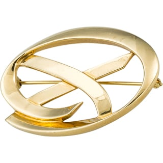 18k Yellow Gold Oval Open 'X' Pin