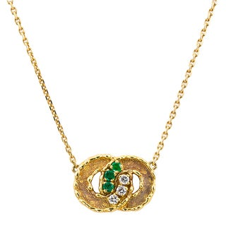 18k Yellow Gold 1/6ct TDW Diamond and Emerald Pendant Necklace (G-H, VS1-VS2)