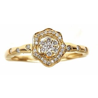 Anika and August 14k Yellow Gold 1/4ct TDW Floral Vintage Diamond Ring (G-H, I1-I2)