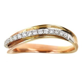 Anika and August 14k Three-tone gold 1/4ct TDW Diamond Twist Ring