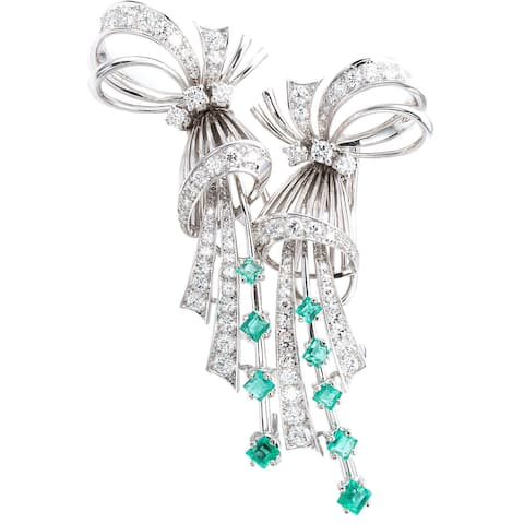 18k White Gold 3ct TDW Diamonds and Emerald 'Up the Ear' Deco Earrings (G-H, VS1-VS2)