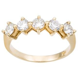14k Yellow Gold 1ct TDW 5-stone Diamond Band Ring (H-I, VS1-VS2)