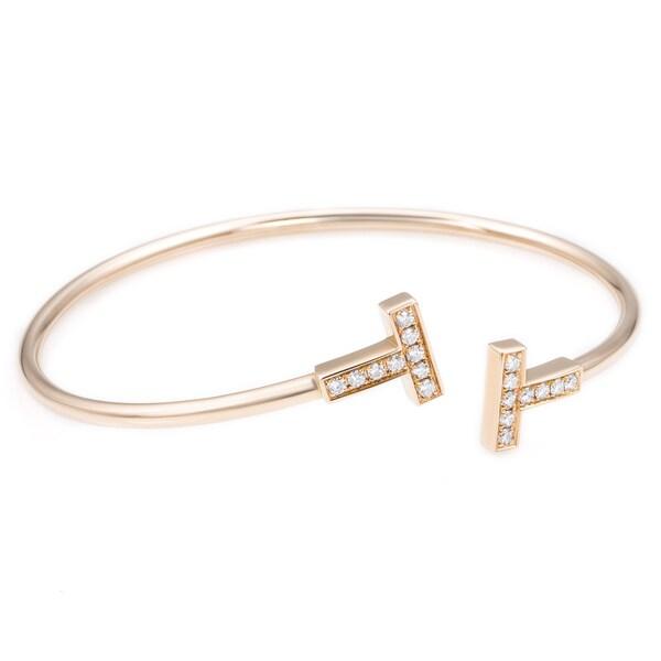 aecc8b645 Shop 18k Rose Gold 2/5ct TDW Diamond Tiffany & Co. T-wire Bangle ...