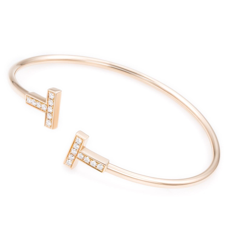 Shop 18k Rose Gold 2 5ct Tdw Diamond Tiffany Co T Wire Bangle Bracelet G H Vs1 Vs2 Overstock 11113291