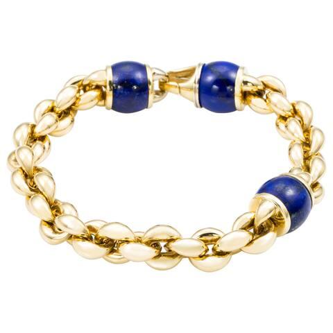 18k Yellow Gold Italian Chain Link and Lapis Bead Bracelet
