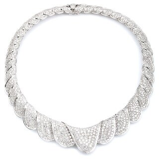 18k White Gold 40ct TDW Estate Bib Diamond Necklace (G-H, VS1-VS2)