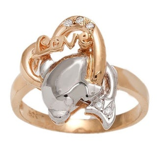 Pori 18k Rose Goldplated Silver Cubic Zirconia Love Dolphin Heart Ring