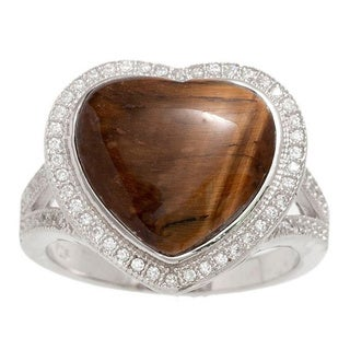Pori Sterling Silver Tiger Eye Cubic Zirconia Pave Heart Ring