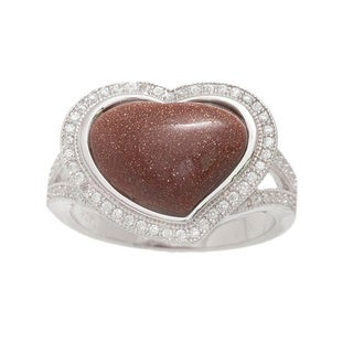Pori Sterling Silver Goldstone Pave Heart Ring