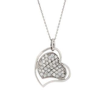 Pori Sterling Silver Cubic Zirconia Sideways Heart in Heart Pendant Necklace