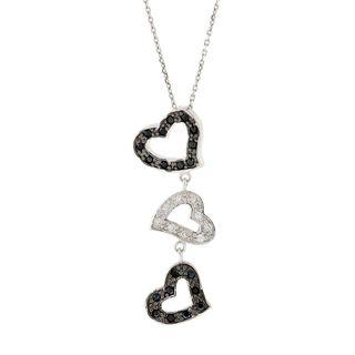 Pori Sterling Silver Triple Heart Black and White Cubic Zirconia Pendant Necklace