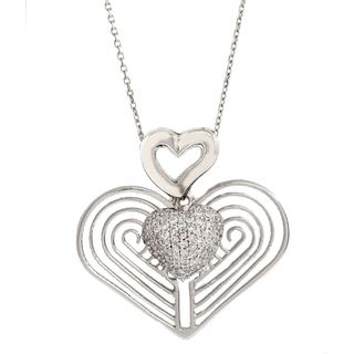 Pori Sterling Silver Hearts with Pave Heart Pendant Necklace