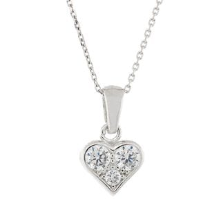 Pori Sterling Silver 3-stone Heart Pendant Necklace