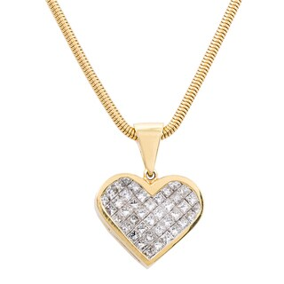 14k Yellow Gold 3ct TDW Invisible-set Diamond Heart Estate Necklace (G-H, VS1-VS2)
