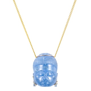 14k Yellow Gold 33ct TDW Carved Buddha Sapphire Pendant Necklace