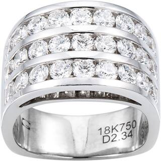 18k White Gold 2 1/3ct TDW Diamond Wide Band 3 Row Estate Ring Size 6.5 (G-H, VS1-VS2)|https://ak1.ostkcdn.com/images/products/11113322/P18116090.jpg?impolicy=medium