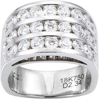 18k White Gold 2 1/3ct TDW Diamond Wide Band 3 Row Estate Ring Size 6.5 (G-H, VS1-VS2)