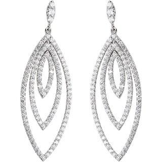 18K White Gold 1 3/4ct TDW Leaf-like Layers Pave Diamond Earrings (G-H, VS1-VS2)