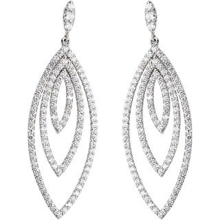 18K White Gold 1 3/4ct TDW Leaf-like Layers Pave Diamond Earrings (G-H, VS1-VS2)