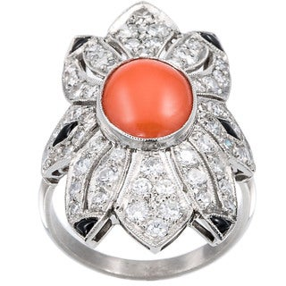 Platinum 1 1/2ct TDW Diamond Coral and Onyx Estate Ring Size 8.25 (H-I, SI1-SI2)