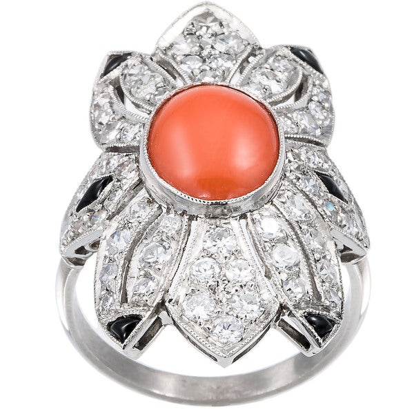 Platinum 1 1/2ct TDW Diamond Coral and Onyx Estate Ring (H-I, SI1-SI2)