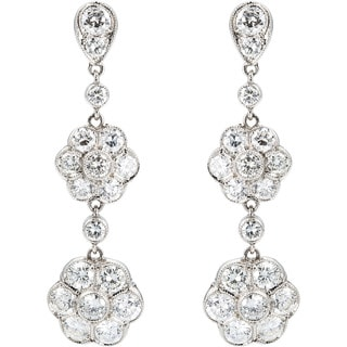 Platinum 2 1/2ct TDW Cluster Diamonds Dangling Earrings (G-H, VS1-VS2)