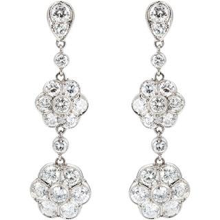 Platinum 2 1/2ct TDW Cluster Diamonds Dangling Earrings (G-H, VS1-VS2)