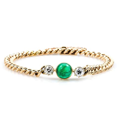 14k Yellow Gold 4/5ct TDW 3-stone Emerald and Diamonds Antique Bracelet (G-H, VS1-VS2)