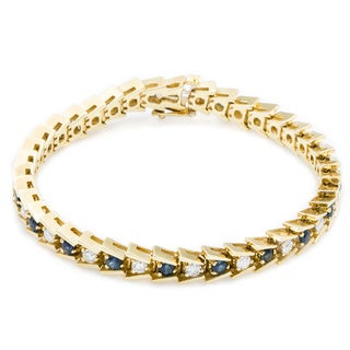 14k Yellow Gold 1 1/2ct TDW Diamond and Sapphire Herringbone Tennis Bracelet (G-H, SI3)