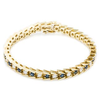 14k Yellow Gold 1 1/2ct TDW Diamond and Sapphire Herringbone Tennis Bracelet (G-H, SI3)|https://ak1.ostkcdn.com/images/products/11113327/P18116095.jpg?impolicy=medium