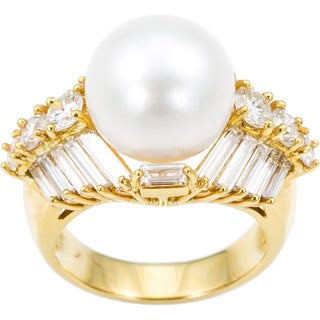 18k Yellow Gold Pearl 4ct TDW Diamonds Estate Ring Size 7.25 (H-I, VS1-VS2)
