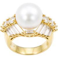 18k Yellow Gold Pearl 4ct TDW Diamonds Estate Ring Size 7.25 (H-I, VS1-VS2)