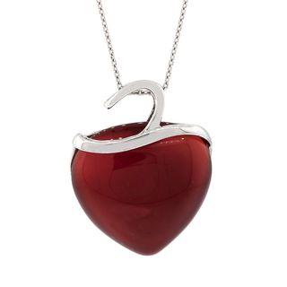 Pori Sterling Silver Brown Agate Heart Pendant Necklace