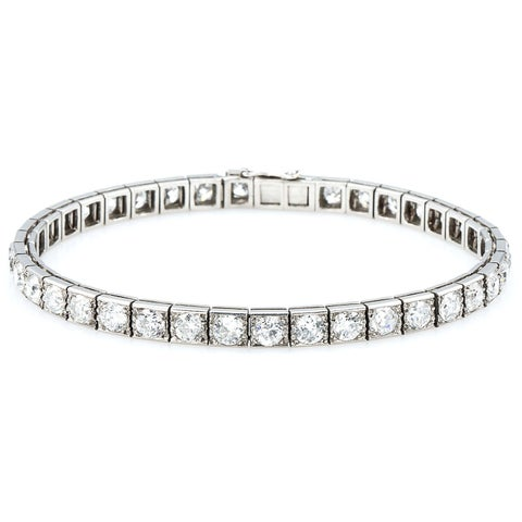 Platinum 12ct TDW Old Mine cut Diamonds Antique Line Bracelet (H-I, SI1-SI2)