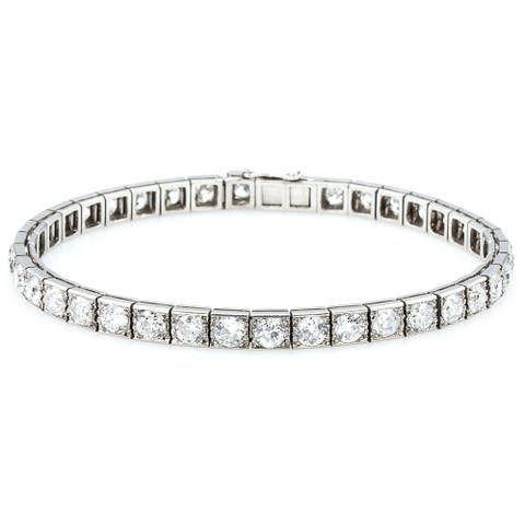 Platinum 12ct TDW Old-Mine Cut Diamonds Antique Line Bracelet